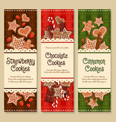 Gingerbread cookies and biscuits banners vector
