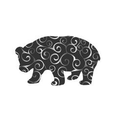 Panda bear mammal color silhouette animal vector