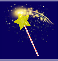 Realistic magic wand with starry lights vector