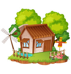 Cottage with little garden vector