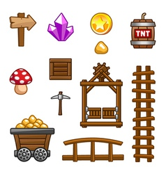 Gold mine assets vector