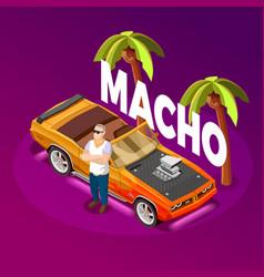 Macho man luxury car isometric image vector