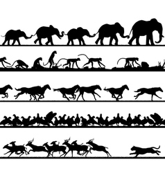 Animal foreground silhouettes vector