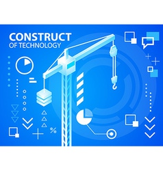 Bright construct crine on blue background fo vector