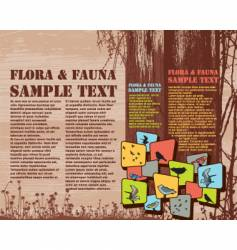 Flora and fauna page layout vector