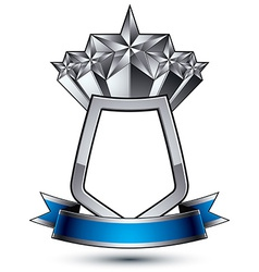 Five silver stars with wavy ribbon placed on a vector image