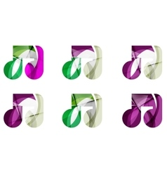 Set of abstract music note icon business logotype vector
