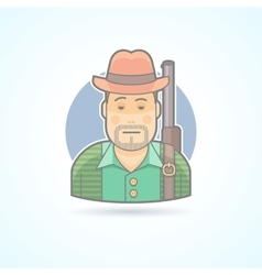 Huntsman with a gun hunting man icon vector
