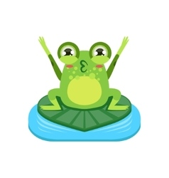 Cartoon frog character cheering vector
