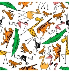 African and jungle cartoon safari animals vector image