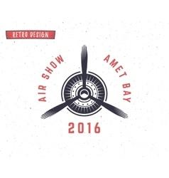 Airplane propeller emblem biplane label retro vector