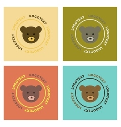 assembly flat icons nature bear logo vector image vector image