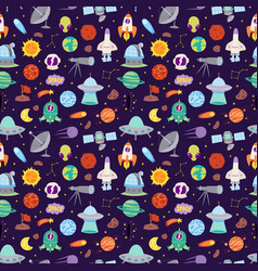 astronomy icons stickers set seamless vector image vector image