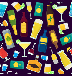 cartoon alcoholic beverages background pattern vector image vector image