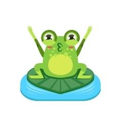 Cartoon frog character cheering vector