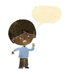 Cartoon unhappy boy giving peace sign with speech vector