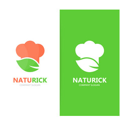 chef and leaf logo combination kitchen vector image