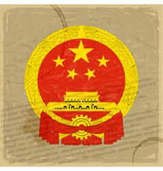 Chinese flag on an old sheet of paper vector image vector image