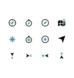 Compass duotone icons on white background vector image vector image