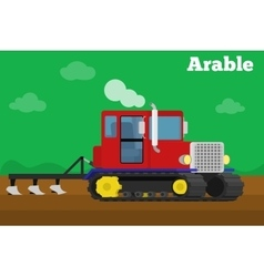 Crawler tractor with plow tillage field vector