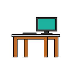 Desk computer technology vector