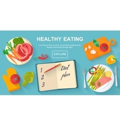 Diet and healthy eating food concept vector image