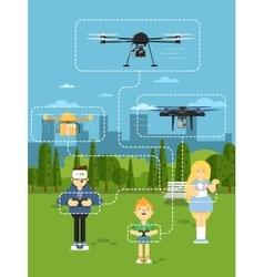 Drone aircraft template with flying robots vector image vector image