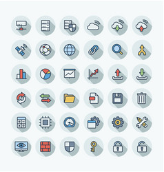 flat color thin line icons set with big vector image