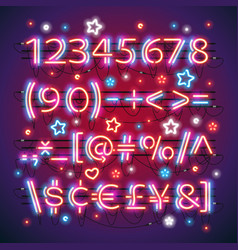 glowing neon red blue numbers vector image
