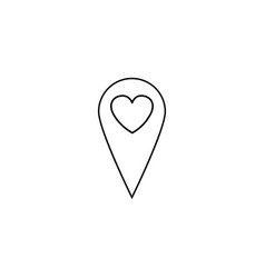 map pointer with heart line icon vector image vector image