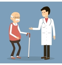 Old man visit a doctor vector