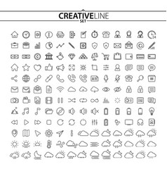 Outline icons set vector