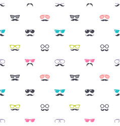 Pattern with colorful glasses and mustache vector