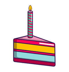 Piece of birthday cake with candle icon vector