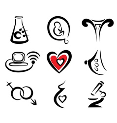 Reproduction set of medical icons vector