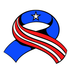 Ribbon in the usa flag colors icon cartoon vector