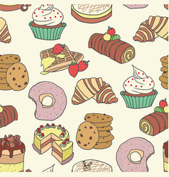 seamless pattern doodle pastry cake bread vector image vector image