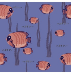 Seamless pattern red fish vector