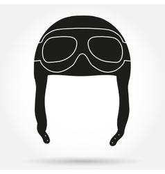 Silhouette symbol ofretro aviator pilot helmet vector