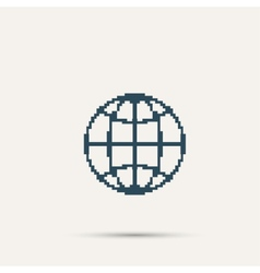 Simple dark pixel icon planet design vector image