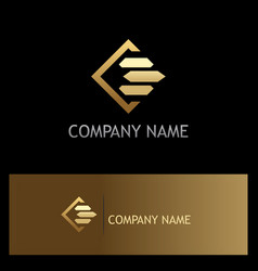 square line gold business finance logo vector image vector image