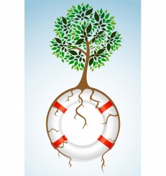 tree with lifebuoy vector image vector image