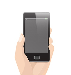 Vertical Smart Phone with hand holding vector image
