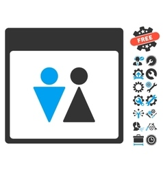 Wc persons calendar page icon with bonus vector