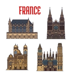 French travel landmark icon with gothic cathedrals vector