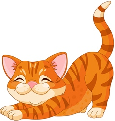 Cute kitten stretching vector