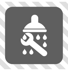 Shower plumbing rounded square button vector