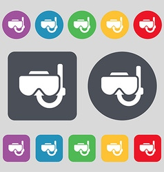 Diving mask icon sign a set of 12 colored buttons vector