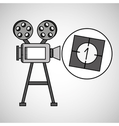 Camera film vintage with movie countdown film vector