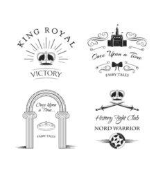 Royal elements set labels crown castle knight s vector